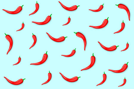 Red chili peppers with shadow on a blue background. Fresh, hot peppers, an ingredient in Mexican cuisine, gives a sharp taste, fiery breath, burning sensation. Template for a banner. Vector image