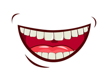 Charming smile, emotional expression of feelings, laughter, joy. Wide open mouth, upper and lower jaw, oral cavity with tongue. Caring for a healthy oral cavity, white teeth. vector image. Ilustracje wektorowe