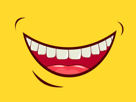 Charming smile, emotional expression of feelings, laughter, joy, happiness. Good mood. Wide open mouth, upper jaw and oral cavity with tongue and white teeth on a yellow background. Vector image.