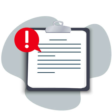 Flat tablet with a clip, important information is written on a paper document, pay attention, alert with an exclamation mark, a reminder not to forget.