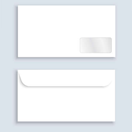 Stationery. A horizontal, clean, closed envelope with shadow. Envelope template from two angles, front and back. Send a letter to the address of the recipient.