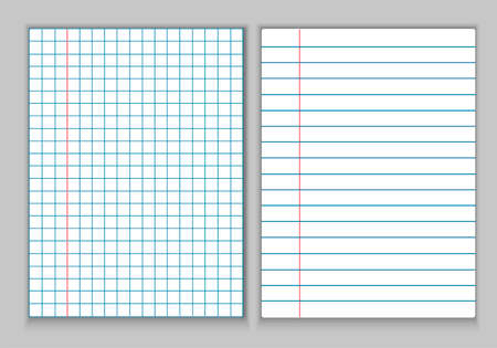 Stationery, white sheets of paper for a notebook. Sheets in a cage and in a line with fields and a red line, on a gray background. Notebook for notes, abstract.