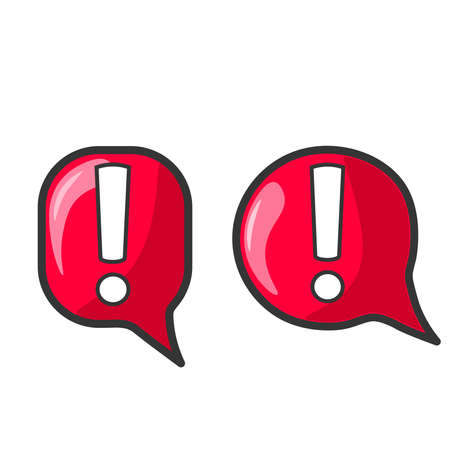 Attention sign in cartoon style. The icons are red with an exclamation mark inside. Bright, shiny graphic elements with backlight and shadow. Vector image