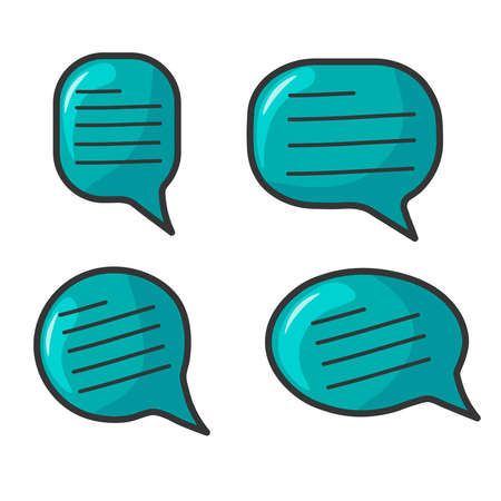 Set of speech icons in cartoon style. Chat icons in turquoise color, with written text inside. Bright, brilliant graphic elements with highlights and shadow. Vector image.  イラスト・ベクター素材