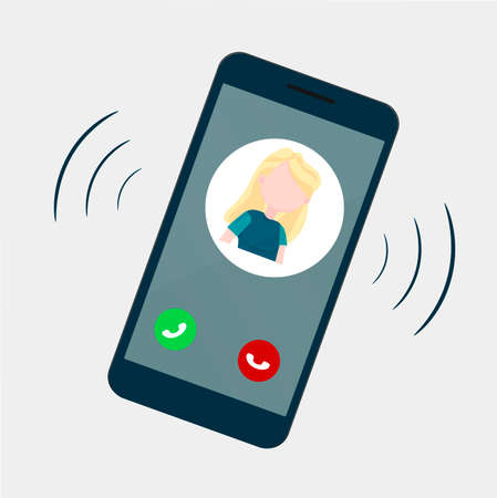 The smartphone is ringing, on the screen image of a man and two buttons: accept and reject the call. Pick up the handset and answer the call. Vector image.