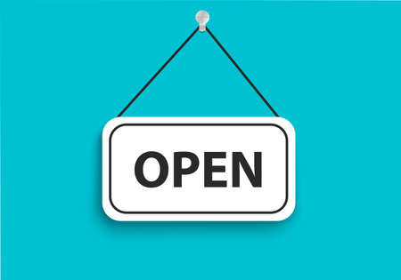 """""""OPEN"""" Door sign ,. Advertisement for the marketing business. Important information about opening a store or other establishment. White banner on a turquoise background. Vector image"""