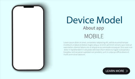 Mock up phone with a blank screen on a white background with blue objects. Model of a modern communication device. Template for web site interface design. Vector illustration Vectores