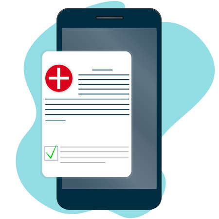 Medical form, check list history on the phone. View the medical certificate through the application. Red badge with a cross. Passing a physical examination. Vector. Ilustração
