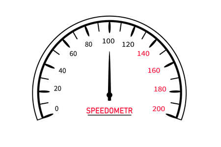 Speed ​​measuring device, speedometer, panel with a rounded dial, indicator in the form of an arrow. Mileage sensor. vector image.