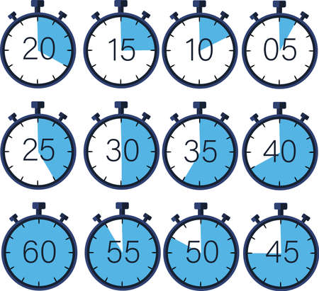Manual stopwatch-chronograph, measurement in seconds. Ability to measure and calculate the time to reach the goal. Timer with a countdown 60,55,50,45,30,25,20,15,10,5 Vector image.