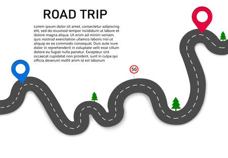 Road trip. Drive along a winding road with two navigation pointers. The starting and ending point of the stop. The route of the car on the navigation map. Highway with road signs and trees on the way.