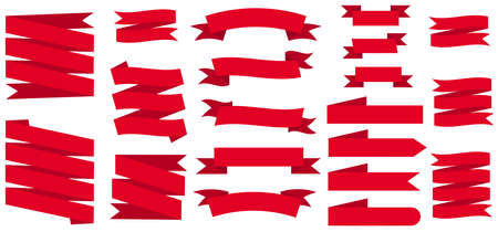 Set of curved red ribbons. Collection of empty flags, labels. Baner for sales promotion. Template for design, badges, labels of different shapes. Vector illustration