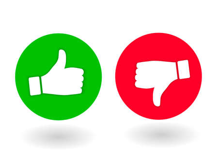 Thumb up and down, like and dislik. Red and green flat icon with shadow. Round icons assessment, positive or negative opinion. Vector Illustration 일러스트
