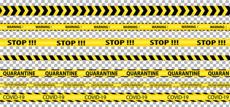 Quarantine Tape Set. Stop, coronavirus pandemic warning. Dangerous zone. The stripes are yellow and black. Isolated on a transparent background. Vector image.