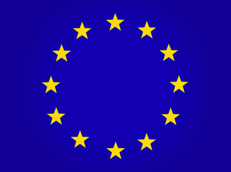 The official flag of the European Union. Twelve yellow stars on a blue background. Vector, horizontal image.