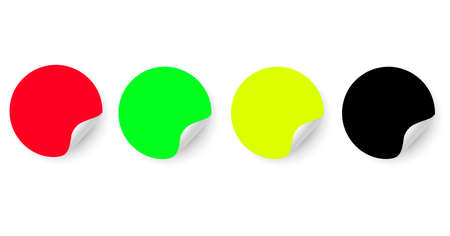 Set of round stickers. Colored paper labels with curved edges for business promotion. Peel-off sticker. Red, green, yellow, black. Vector image