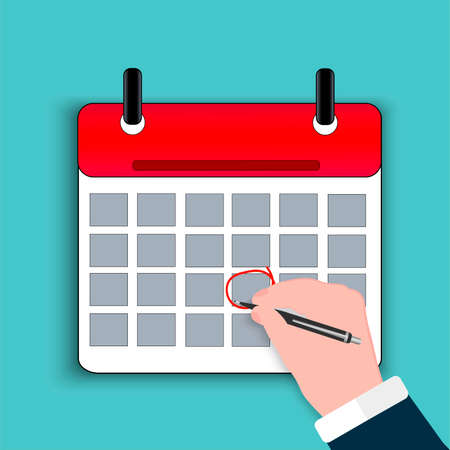 Business calendar, planner. Important day, reminder, mark the date with a red circle The hand of a businessman draws a pen. Planned event, event. Design template. Vector image.