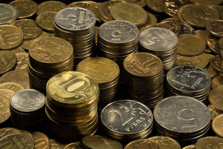 the color image: large group of coins, color image money Stock Photo