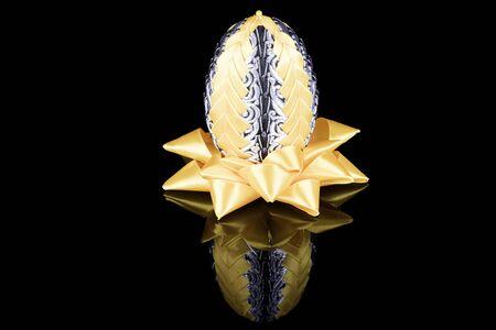 kanzashi: Hand Made of yellow-silver Easter egg kanzashi on black