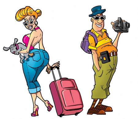 mujer con maleta: Turistas Cartoon Foto de archivo