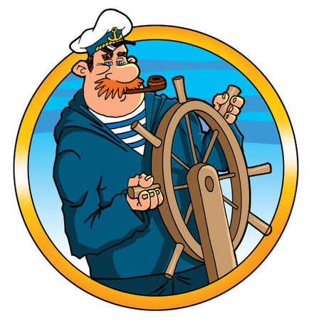 captain helmsman sailor at the helm steering wheel Banque d'images