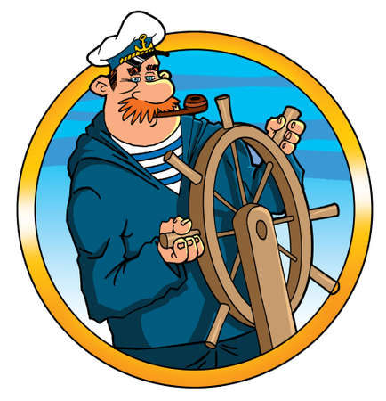 captain cap: captain helmsman sailor at the helm steering wheel Stock Photo