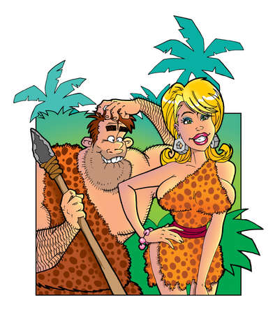 breast animal: funny prehistoric people in love