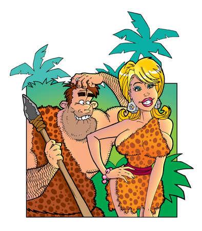 funny prehistoric people in love