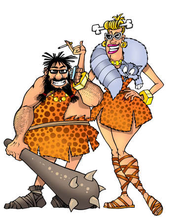 funny prehistoric man and woman Stock Photo - 21731172