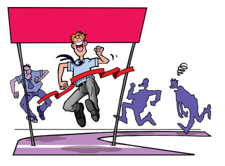 jealousy: Business people racing to finish line