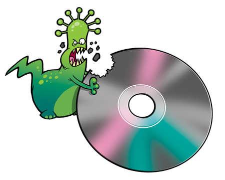 deletes: Cartoon virus deletes the information from DVD Stock Photo