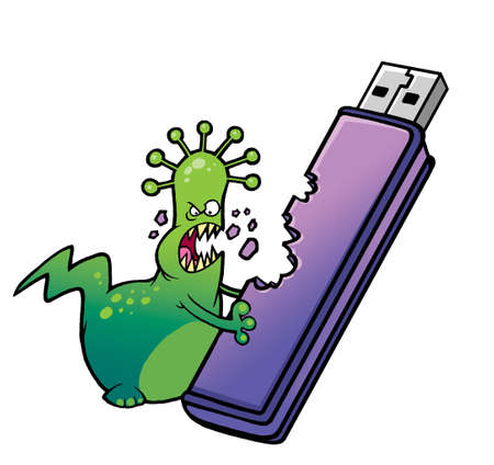Cartoon virus deletes the information from the USB Flash Drive photo