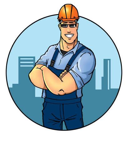 ingeniero electrico: Constructor de sexo masculino en naranja casco