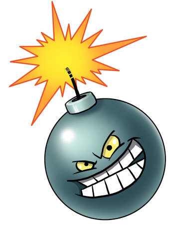 Cartoon bomb with evil face photo