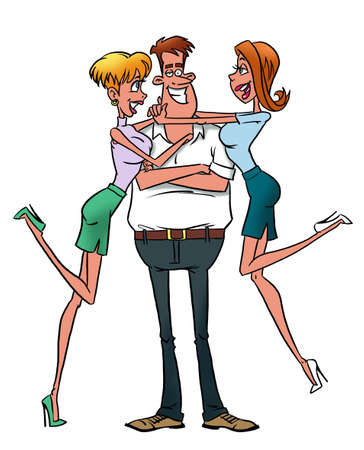 Macho man with girlfriends Stock Photo - 21730967