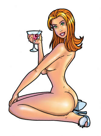 naked woman back: Sexy cartoon girl