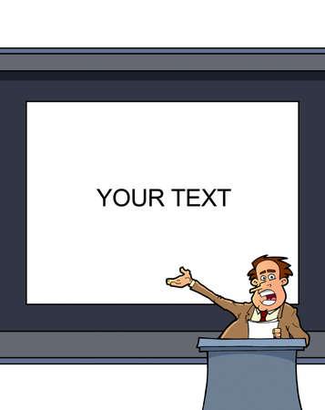 Man presentation  on white board  photo