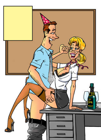 cartoon couple make love in office Banque d'images