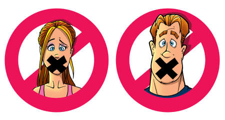 funny man and woman with taped mouth Stock Photo