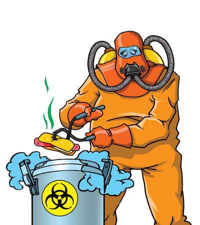 food poison: Expert disposing junk food  Stock Photo
