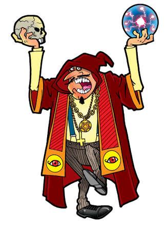 satanist: Evil sorcerer casting a spell