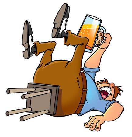 drunk cartoon: drunk cartoon man proposing a toast with a beer mug