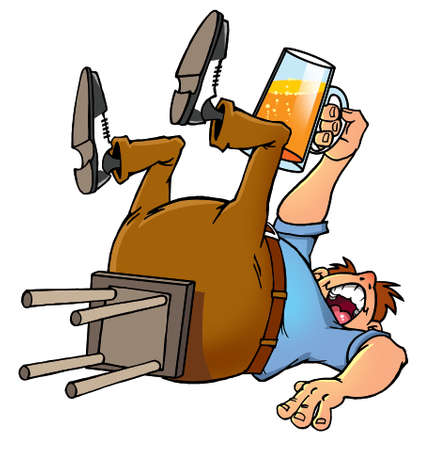 drunk cartoon man proposing a toast with a beer mug