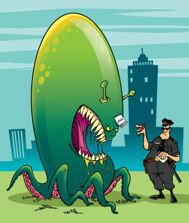 Alien invader and fearless policeman Stock Photo - 23952031
