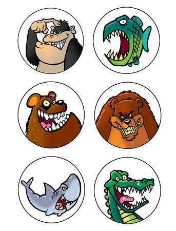bull shark: scary cartoon animals set 2