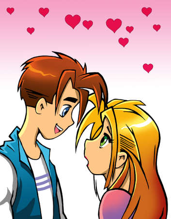 blondie: romantic cartoon couple looking at each other
