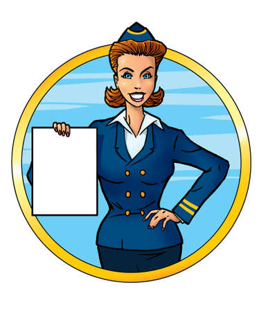 Attractive air hostess holding empty paper blank photo