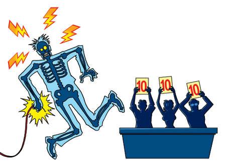 convulsion: El hombre tomar el choque el�ctrico en un sal�n de baile shampionship