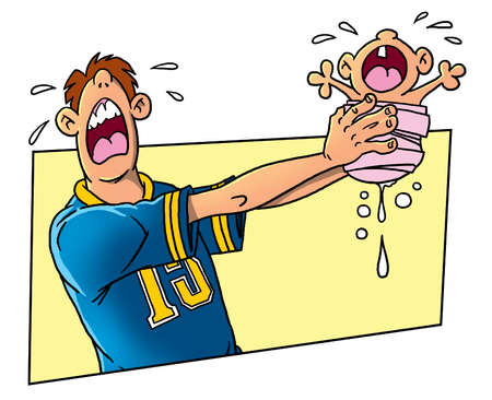 pee: Crying child and his father Stock Photo