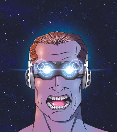 Man with futuristic 3-D glasses